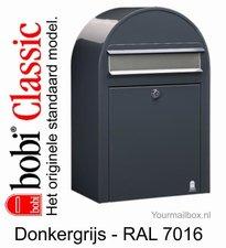 Brievenbus Bobi Classic donkergrijs RAL 7016 met RVS klep