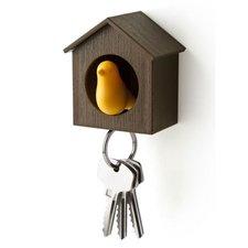 Qualy sleutelkastje vogelhuisje geel/bruin