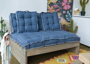 Lounge kussens voor palletbank (blauw)