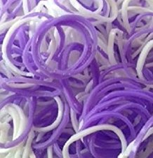 300 Loombands paars-wit