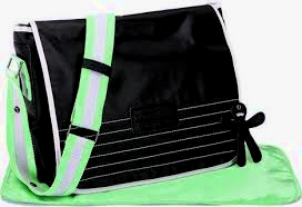Luiertas Little Company courier bag zwart/groen