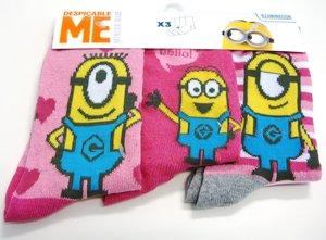 Minions sokken 3pack roze maat 27-30