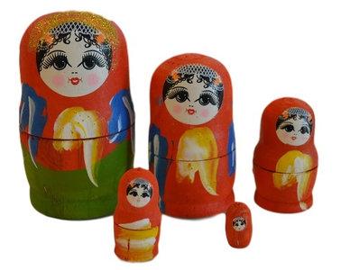 Babouska poppetjes 5-delig rood/oranje