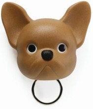Qualy Franse bulldog sleutelhouder bruin