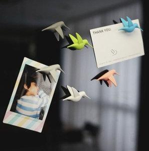 Qualy magneetjes vogel kolibrie pastel