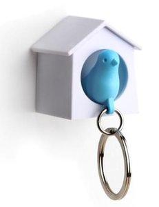 Qualy MINI sleutelkastje vogelhuisje wit/blauw