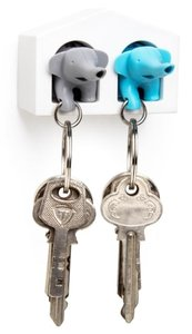 Qualy MINI sleutelkastje 2 olifanten blauw/grijs