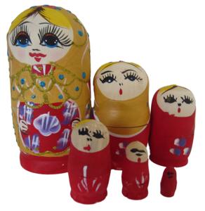 Babouska poppetjes 5-delig goud/rood