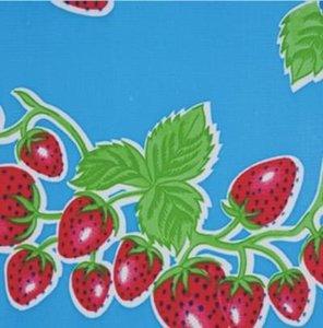 Rond Mexicaans tafelzeil aardbei blauw (120cm)