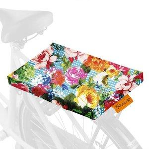 fietskussen bloem blauw