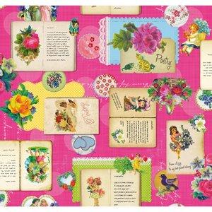 SALE tafelzeil poetry roze 105x140cm