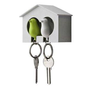 Qualy sleutelkastje 2 vogels groen/wit