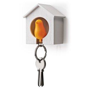 Qualy sleutelkastje vogelhuisje oranje/wit