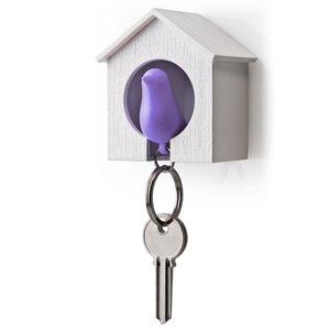 Qualy sleutelkastje vogelhuisje paars/wit