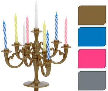 Kandelaar met verjaardagskaarsjes - taart kandelaar goud